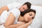Couple Sleeping On Bed — Stock Photo