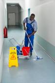Janitor Cleaning Floor — Stock Photo