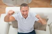 Man Clenching Fists — Stock Photo