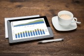 Digital Tablet Showing Graph — Stock Photo