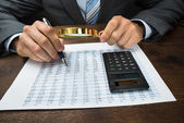 Businessperson Inspecting Financial Data — Stock Photo