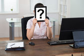 Businesswoman With Question Mark Sign — Stock Photo