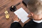 Judge Writing On Paper — Stock Photo