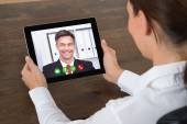 Businesswoman Videochatting With Colleague — Stock Photo