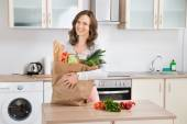 Woman With Grocery Bag — Stock Photo