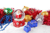 Christmas decorate composition with glitter — Stock Photo