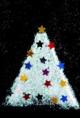 Christmas tree decorate from glitter on black background — Стоковое фото