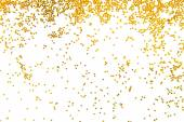 Golden glitter falling isolated on white — Stockfoto