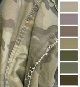 Camouflage cloth complimentary color chart selection — Stock Photo