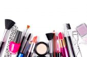 Makeup and brushes cosmetic set isolated on white — Stock Photo