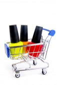 Trolley with nail enamel isolated on white — 图库照片