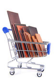 Shopping trolley with wooden timber planks — 图库照片