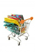 Shopping trolley with various fabric — Stock Photo