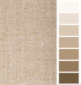 Linen hessian fabric color chart complimentary card — Zdjęcie stockowe