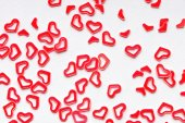 Red heart confetti background frame — Stock Photo