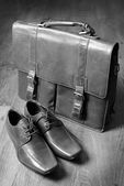 Pasta de couro estilo clássico vintage e sapatos de couro — Fotografia Stock