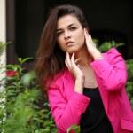 Beautiful woman model doing a fashion shoot — Stock Photo #57228865