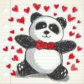 Panda wearing red tie — Stock Vector