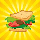 Sandwich with burst background — Stockvector