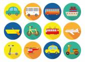 Transportation flat icons — Stock Vector
