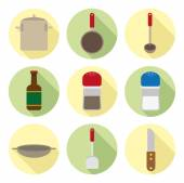 Kitchen ware flat icons — Stock Vector