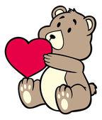 Teddy bear carrying heart — Stock Vector