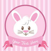 Cute bunny badge — Stock Vector