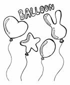 Set of balloons doodle — Stock Vector