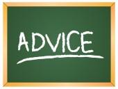Advice word  on chalkboard — Stock Vector