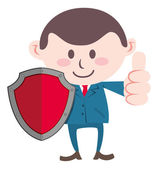 Businessman with shield — Stock Vector