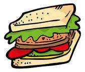 Cartoon sandwich icon — Stock Vector