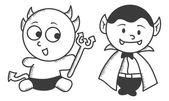 Evil and dracula cartoon — Stock Vector