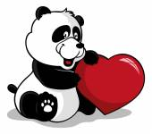 Cute panda holding heart — Stock Vector