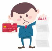 Manager showing bills and credit card — Stock Vector