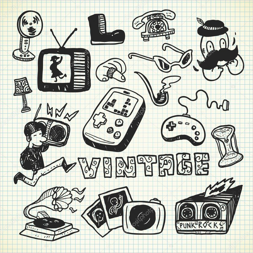 Objetos vintage en estilo doodle vector de stock - Objetos vintage ...