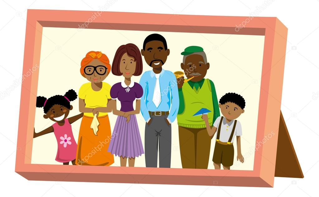Portrait of African American family — Stock Vector © mhatzapa ...