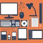 Set of work desk — Stock Vector #59810079