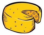 Sketchy cheese  wheel — Stock Vector