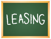 Leasing word  on chalkboard — Stock Vector