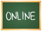 Online word  on chalkboard — Vetor de Stock
