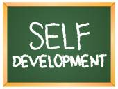 Self development word  on chalkboard — Stock Vector