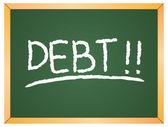 Debt word  on chalkboard — 图库矢量图片