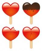 Hearts shapes ice cream — Stock Vector