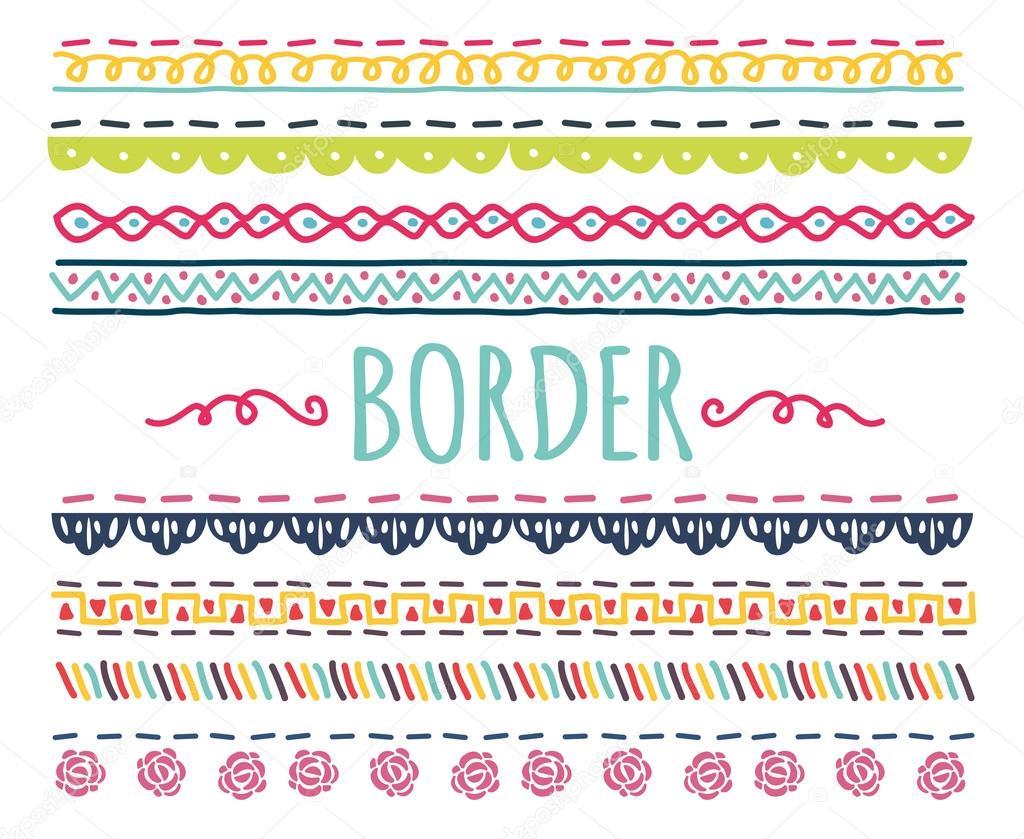 Bordes decorativos adornos set vector de stock for Bordes creativos