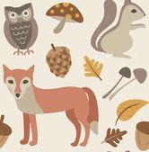 Autumn animals background — Stock Vector
