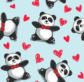 Panda with hearts background — Stock Vector