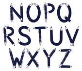 鉛筆でフォントのアルファベット — ストックベクタ