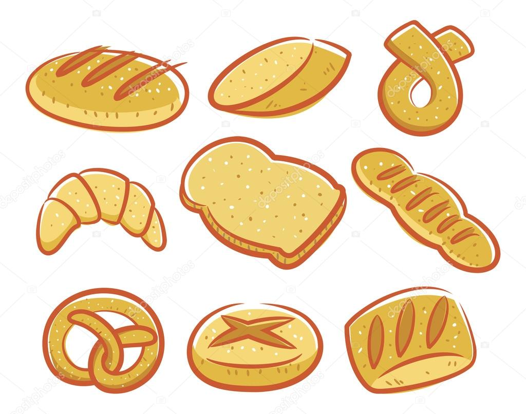 만화 빵 아이콘 세트