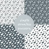 Simple seamless patterns set — Stock Vector