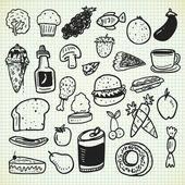 Verschillende voedsel cartoon pictogrammen — Stockvector